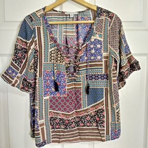 American Eagle blue floral mixed print blouse